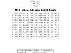 MCC - Liberal Arts Word Search Puzzle Worksheet