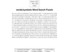 Words/symbols Word Search Worksheet