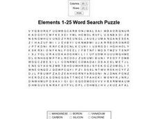 Elements 1-25 Word Search Puzzle Worksheet
