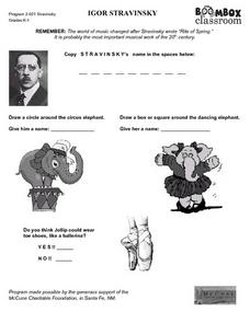 Igor Stravinsky Fill in the Blank Worksheet Worksheet