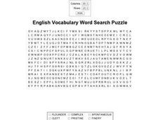 English Vocabulary Word Search Puzzle- Intermediate to High School Worksheet