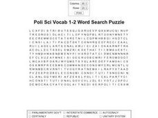 Political Science Vocabulary 1-2 Word Search Puzzle Worksheet