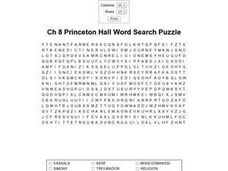 Ch 8 Princeton Hall Word Search Worksheet