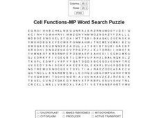 Cell Functions-MP Word Search Worksheet
