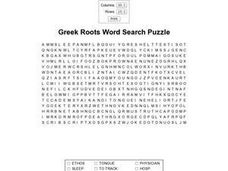 Greek Roots Word Search Worksheet