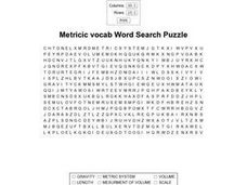 Metricic Vocab Word Search Puzzle Worksheet