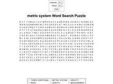 Metric System Word Search Worksheet