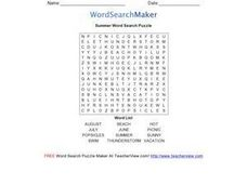 Summer Word Search Puzzle Worksheet