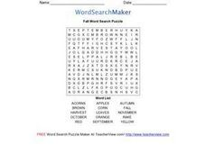 Fall Word Search Puzzle Worksheet