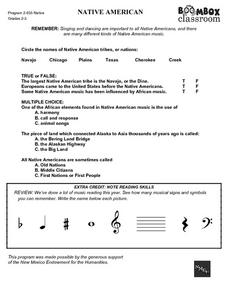 Boombox Classroom: Native American Worksheet