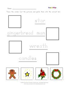 Winter Holiday Printing Practice with Cut and Paste Worksheet
