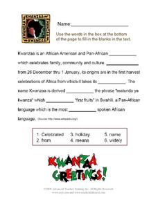 Kwanzaa Greetings! Worksheet for 3rd - 4th Grade | Lesson Planet