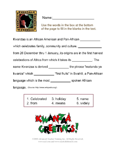 Kwanzaa Greetings Worksheet For 3rd 4th Grade Lesson