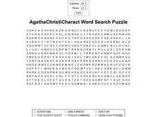 Agatha Christi Character Word Search Puzzle Worksheet