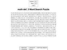 Math Word Search Worksheet