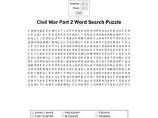 Civil War Part 2 Word Search Puzzle Worksheet