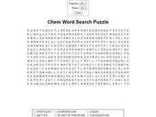 Chem Word Search Puzzle Worksheet