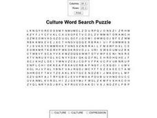 Culture Word Search Puzzle Worksheet