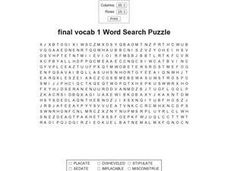 Final Vocab 1 Word Search Puzzle Worksheet