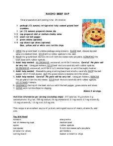 Nacho Beef Dip Recipe Worksheet