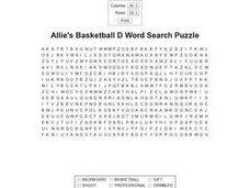 Allie's Basketball D Word Search Puzzle Worksheet