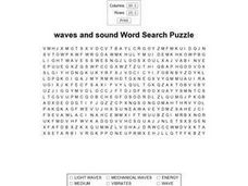 Waves And Sound Word Search Puzzle Worksheet