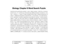 Biology Chapter 6 Word Search Puzzle Worksheet
