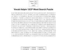 Vocab Halpin 12CP Word Search Puzzle Worksheet