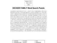 Decker Family Word Search Puzzle Worksheet