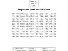Magnetism Word Search Puzzle Worksheet