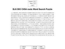 BJU BIO CH5A roots Word Search Puzzle Worksheet
