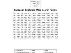 European Explorers Word Search Puzzle Worksheet