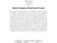 Baker's Neighbor Worksheet