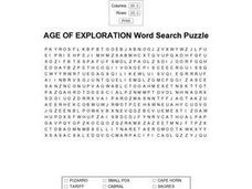 Age of Exploration Word Search Worksheet