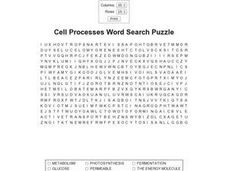 Cell Processes Word Search Puzzle Worksheet