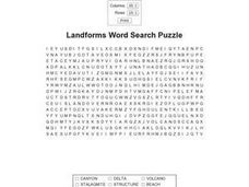 Landforms Word Search Puzzle Worksheet