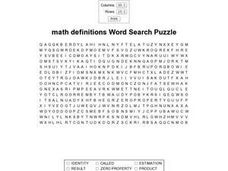Math Definitions Word Search Worksheet