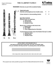 The Clarinet Family Worksheet
