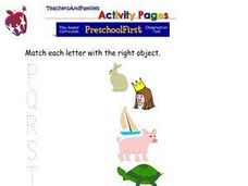 Match Letters with Pictures: P-T Worksheet