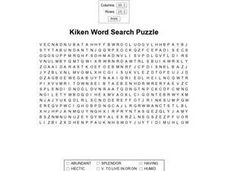 Kiken Word Search Puzzle Worksheet