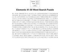 Elements 41-50 Word Search Worksheet