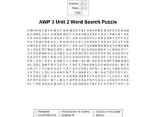 AWP 3 Unit 2 Word Search Puzzle Worksheet