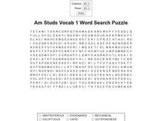 Am Studs Vocab 1 Word Search Puzzle Worksheet