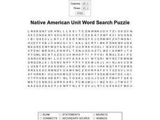 Native American Unit Word Search Puzzle Worksheet