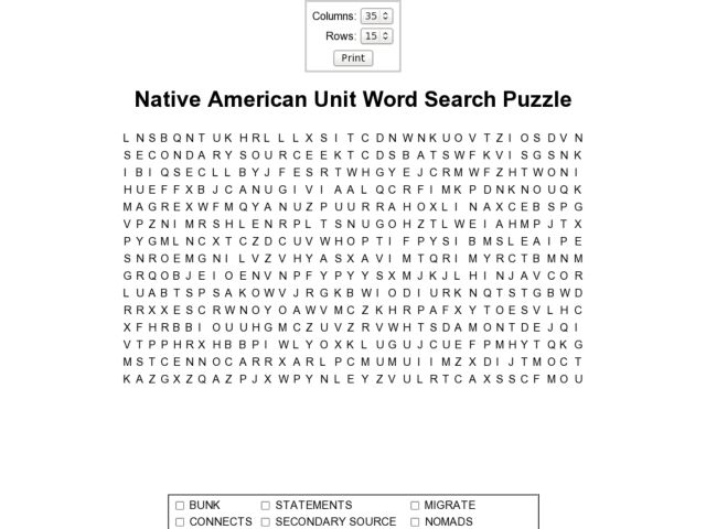 Native American Unit Word Search Puzzle 3rd - 4th Grade Worksheet ...