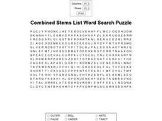 Combined Stems List Word Search Worksheet