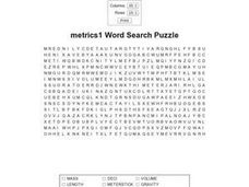Metrics1 Word Search I Worksheet