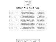 Metrics I Word Search Puzzle Worksheet
