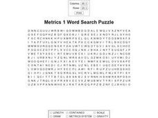 Metrics 1 Word Search III Worksheet