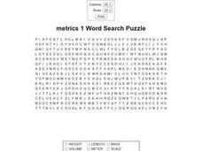 Metrics 1 Word Search IV Worksheet